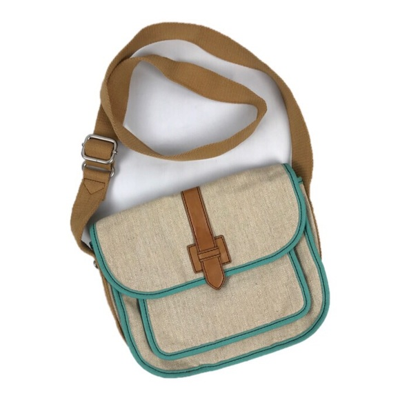 Fossil Bags   Canvas Tan And Teal Crossbody Messenger   Poshmark 2ffdfdf8b3